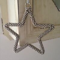 Shabby Chic Silver Metal Hanging Star Home Decoration with Tiny Silver Bells