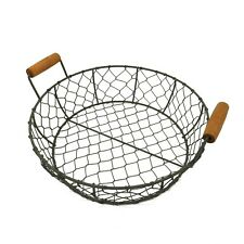 Round Metal Wire with Wooden Handle Country Vintage Style Serving Tray