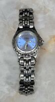 Ladies Fossil Watch w/New Battery Light Blue Face and Stainless Steel Wristband