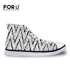 Women Men White Canvas Shoes Hi Top Cool Sneakers Lace Up Pumps Casual Trainers