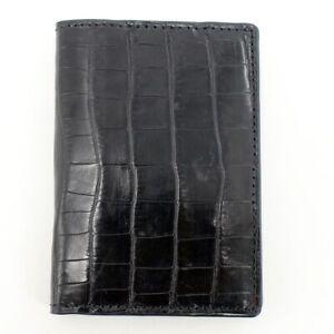 Crocodile Leather Credit Card Holder DOUBLE SIDE Genuine Alligator Black/Red