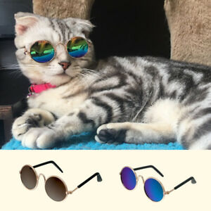 Cool Cat Dog Sunglasses Funny Costume Round Eye-wear Small Pet Puppy Accessories