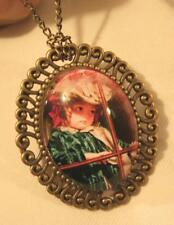 Swirled Rim Brasstn Old Fashioned Girl Looking Out of A Window Cameo Brooch Pin