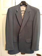 Lands' End Mens Blazer Jacket Size 43L Blue Wool/Silk Lined Made USA herringbone