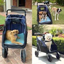 Portable Pet Stroller Dog Cat Travel Carrier Folding 4 Large Wheel Jogging Cart