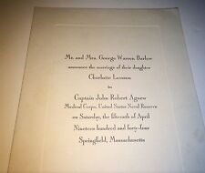 Rare Vintage America World War 2 Wedding Announcement! Captain John Robert Agnew