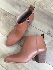 New Madewell Brenner Ankle Boots Leather English Saddle Brown Sz 6 G8025 $210