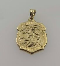 14k Yellow Gold Saint Michael Protect Us Badge Religious Medal Pendant Charm
