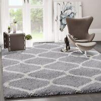 Modern Shaggy Teppich Zwiebelförmigen Fliese Design Grau Creme