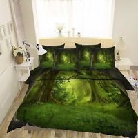3D Dark Green Forest 521 Bed Pillowcases Quilt Duvet Cover Set Single Queen CA