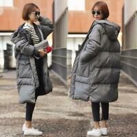 Winter womens oversized down cotton padded long coat parka hooded outwear puffer