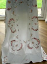 VINTAGE HAND EMBROIDERED RECTANGULAR TABLECLOTH PETIT POINT & CUTWORK ON LINEN