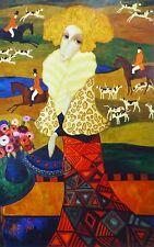 SERGEY SMIRNOV Tapestry of The Hunt Mixed Media Silkscreen signed Russian Artist