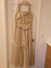 Lenovia Gold Wedding Prom Formal Long Dress Sz M Medium Women's Party Elegant