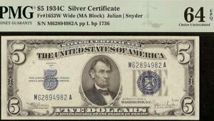 UNC 1934 C $5 DOLLAR SILVER CERTIFICATE BLUE SEAL NOTE PAPER MONEY PMG 64 EPQ