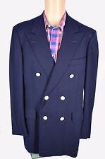 Custom Hickey Freeman Double Breasted Navy Hopsack Sport Coat Jacket Blazer 40L