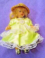 "Victorian 5"" Porcelain Doll ~ Lime Fancy Dress, Straw Hat, Blond Hair"