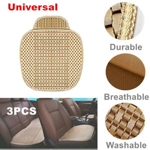 Viscose Fiber 3* Beige Car Seat Cover Front Rear Seat Cushion Durable Protector