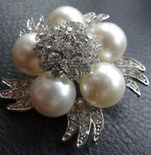 vintage clear rhinestone faux pearl 3D flower silver tone brooch 50s style -C143