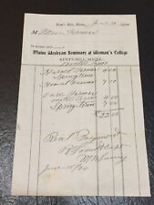Maine Wesleyan Seminary & Women's College Tuition Bill 1920~Kent's Hill, Maine