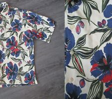 Bold Red & Blue Floral Print, Duck Head Novelty Print Hawaiian Shirt Sz L