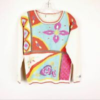 Vintage Colorful 80s 90s Floral Embroidered Knit Sweater Women's Size Small