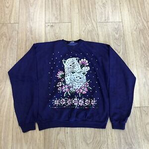 Womens Vintage Cat Sweater M Medium Purple B6080