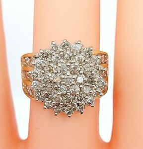 Beautiful Chunky 18ct Yellow Gold & 1.65ct Diamond Cluster Ring UK M 9.6g