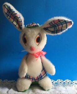 "Vintage 1960's J SWEDLIN Bunny Rabbit GUND Pastel Plaid With Tam Hat USA 17 1/2"""