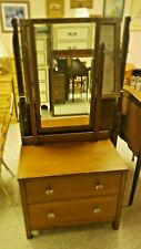 ANTIQUE OAK VANITY WITH BEVELLED MIRROR TWO DRAWERS