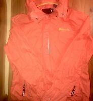 BENCH Windbreaker Jacket Women's Size Large Coral Hooded Zip Up