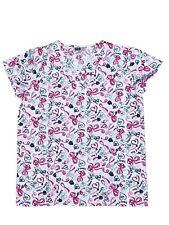Womens Fashion Medical Nursing Scrub Print Tops Ribbons of Hope S