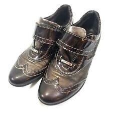 Geox Respira Wingtip Sneaker Brown Womens Size 37 US 6/6.5 Hook and Loop Shiny