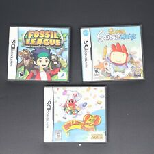 Nintendo DS Game Lot of 3 Fossil League Super ScribbleNauts Ballistic Beans VGC