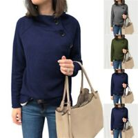 Shirt Top T-Shirt Casual Long Sleeve Crew Neck Ladies Blouse Pullover Loose