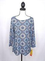 Cathy Daniels NEW Womens sz Small Scoop Neck Print Top Shirt 3/4 Sleeve Blue NWT