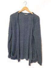 TU Mid Grey Blue Open Front Cardigan Front Pockets Bouclé Knit Size Large