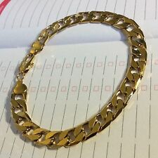 "gcb Plum UK 18k yellow gold gf curb chain bracelet 8.5"" / 215mm x 8mm gift boxed"