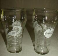 Vintage Set Of 2 Always Coca-Cola Christmas Holiday Drinking Glasses Santa Claus