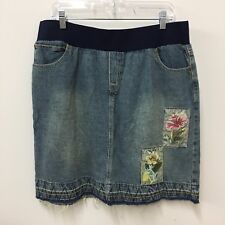 Announcements womens maternity skirt denim jeans distressed floral embroidered L