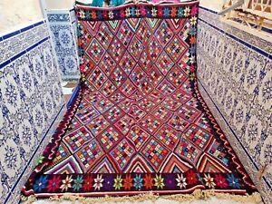 "Vintage Moroccan Kilim Rug Handmade Wool Tribal Old Carpet Azilal 10'6"" X 7'2"""