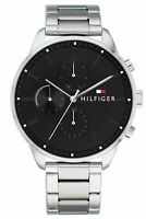 New Tommy Hilfiger Chase Multi-Function Mens Watch Casual Silver Band 1791485