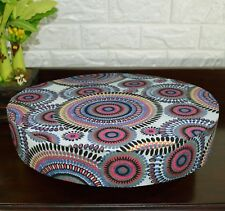 AF256r Fuschia Blue Flower Cotton Canvas 3D Round Seat Cushion Cover Custom Size