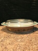 Vintage Pyrex divided casserole dish brown gold early american pattern with lid