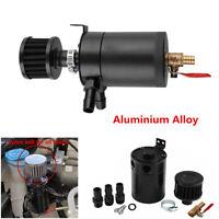 2-Port Aluminum Oil Catch Can Tank Reservoir w/Drain Valve&Breather Filter Black