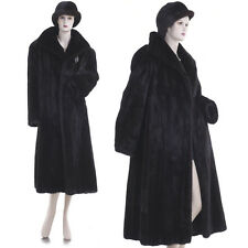 $9K! Mint! Highest Grade Finest Female Black Mahogany Mink Fur Coat w/Free Hat