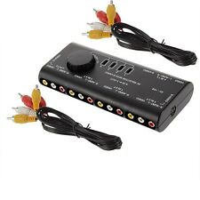 4 in 1 AV Audio S-Video Signal Switcher Splitter Selector RCA Switch Box 2 Cable