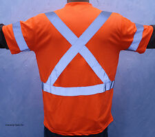 Size L Orange Retro Reflective Safety TSHIRT With Pocket CSA Z96 CLASS 3