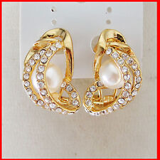 NEW NICE 18K GOLD GP GEP OVERLAY FILL WITH BRASS PERAL CLIP STUD  STONE  EARRING
