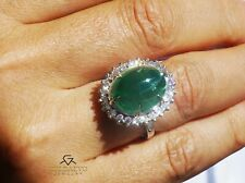 Emerald Ring Diamond  Gold 14K White Natural 12.15CT GIA Certified RETAIL $14400